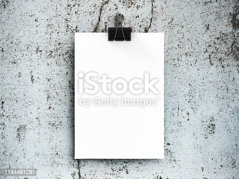 istock Poster mockup on old concrete wall 1144461291