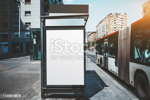 istock Poster mockup on the bus stop 1140819878