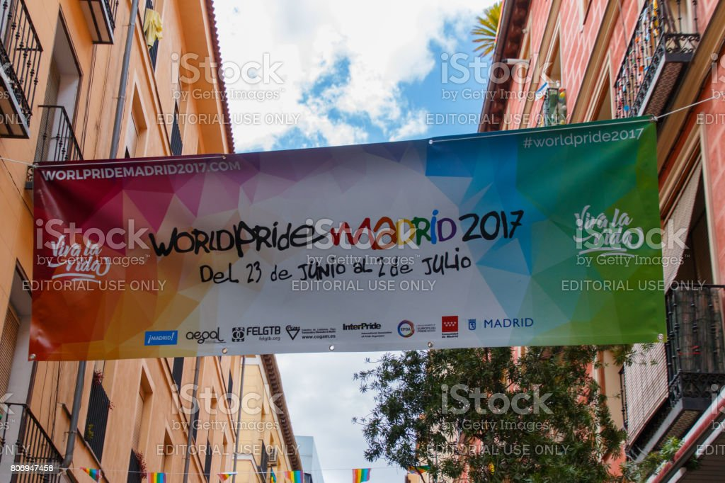 Poster of the presentation of the world pride madrid 2017 stock photo
