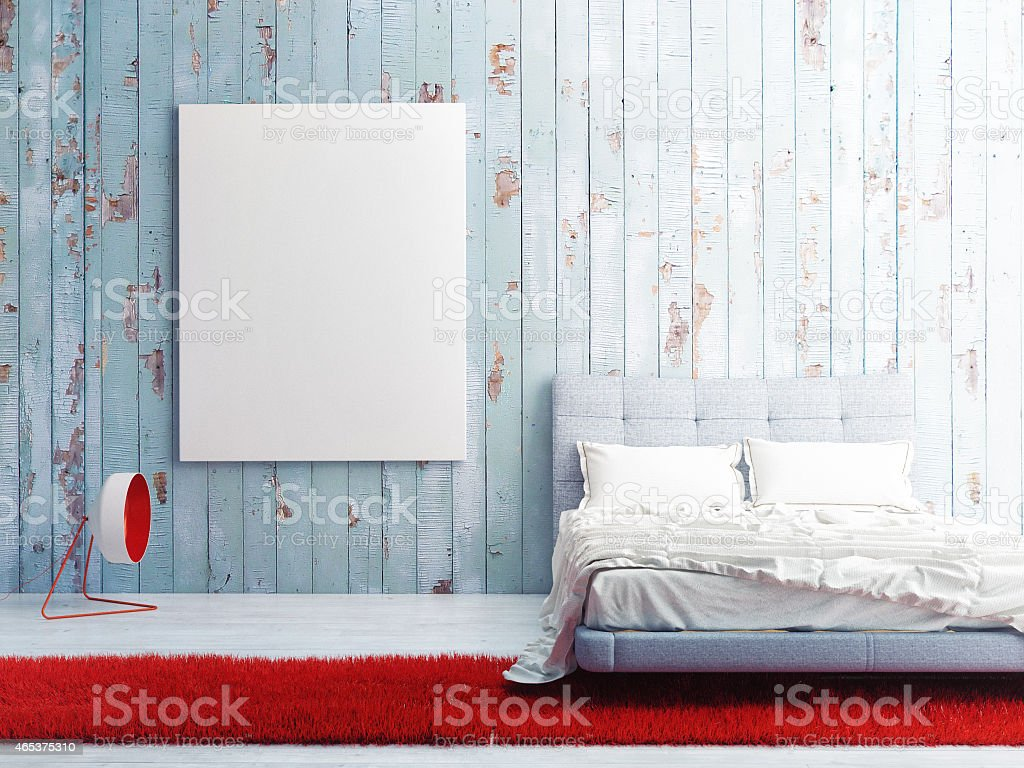 poster on blue wooden wall, bedroom 3d illustration stock photo