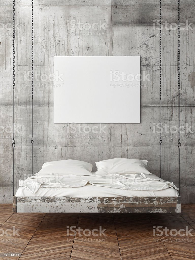 Poster on concrete wall, empty bedr stock photo