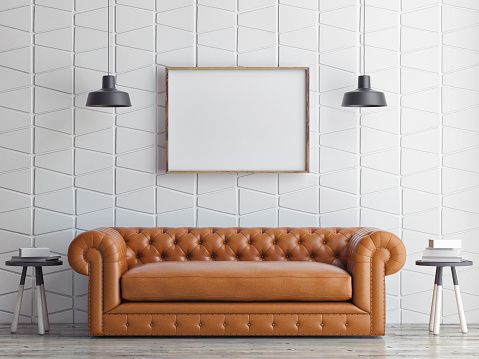 istock poster on pattern wall, sofa, 3d render 470834540