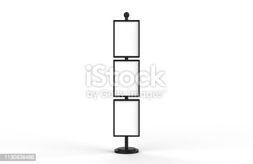 839409724 istock photo Poster stand takes multiple A2, A3, A4, A5 posters on a tall stand, mock up template for retail displays in stores as a shop poster stand, 3d illustration 1130636466