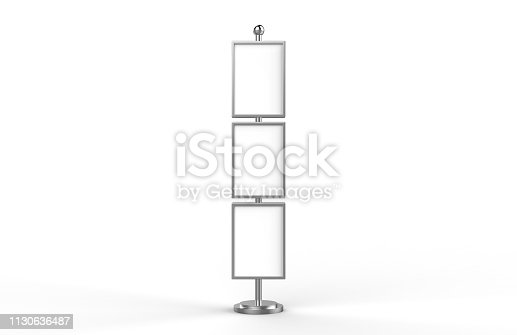 839409724 istock photo Poster stand takes multiple A2, A3, A4, A5 posters on a tall stand, mock up template for retail displays in stores as a shop poster stand, 3d illustration 1130636487