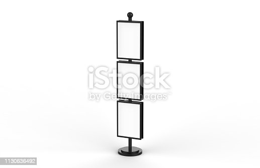 839409724 istock photo Poster stand takes multiple A2, A3, A4, A5 posters on a tall stand, mock up template for retail displays in stores as a shop poster stand, 3d illustration 1130636492