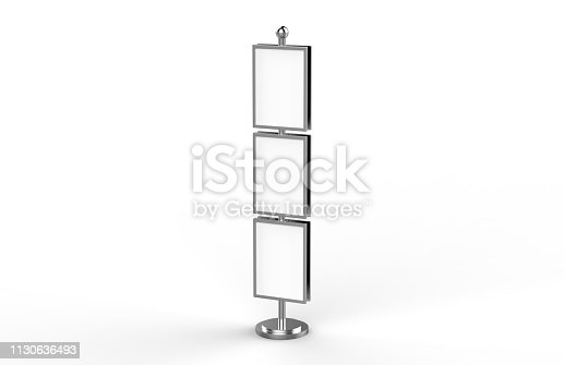 839409724 istock photo Poster stand takes multiple A2, A3, A4, A5 posters on a tall stand, mock up template for retail displays in stores as a shop poster stand, 3d illustration 1130636493
