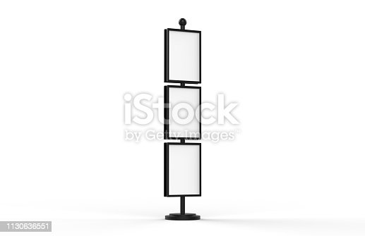 839409724 istock photo Poster stand takes multiple A2, A3, A4, A5 posters on a tall stand, mock up template for retail displays in stores as a shop poster stand, 3d illustration 1130636551