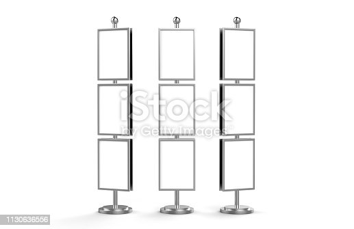 839409724 istock photo Poster stand takes multiple A2, A3, A4, A5 posters on a tall stand, mock up template for retail displays in stores as a shop poster stand, 3d illustration 1130636556
