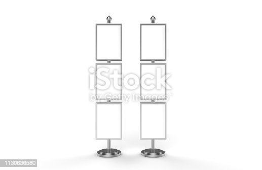 839409724 istock photo Poster stand takes multiple A2, A3, A4, A5 posters on a tall stand, mock up template for retail displays in stores as a shop poster stand, 3d illustration 1130636580