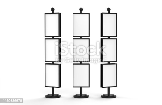 839409724 istock photo Poster stand takes multiple A2, A3, A4, A5 posters on a tall stand, mock up template for retail displays in stores as a shop poster stand, 3d illustration 1130636676