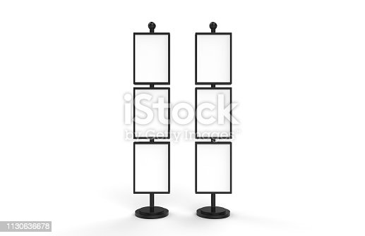 839409724 istock photo Poster stand takes multiple A2, A3, A4, A5 posters on a tall stand, mock up template for retail displays in stores as a shop poster stand, 3d illustration 1130636678