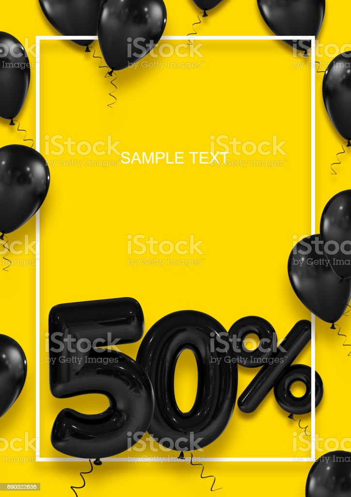 Poster template for sales. Fifty percent discount. Inflatable balls in a white frame on a yellow background. International Paper Sizes. 3d render stock photo