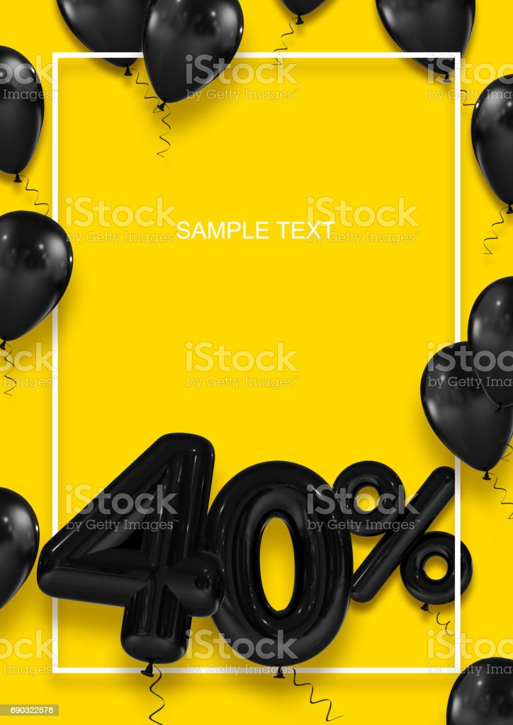 Poster template for sales. Forty percent discount. Inflatable balls in a white frame on a yellow background. International Paper Sizes. 3d render stock photo