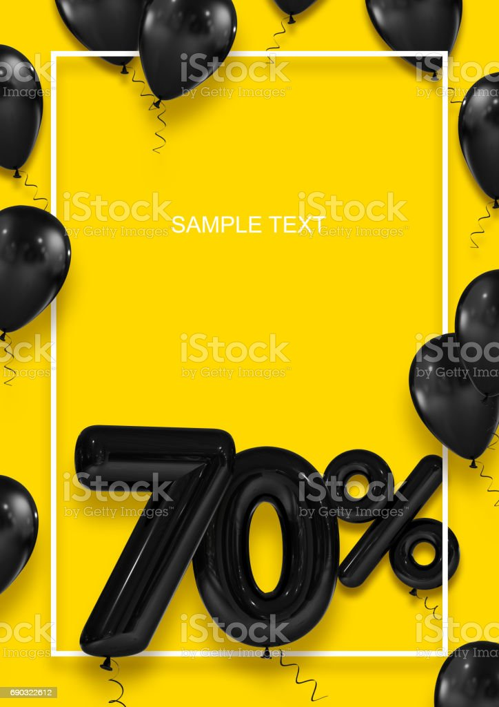 Poster template for sales. Seventy percent discount. Inflatable balls in a white frame on a yellow background. International Paper Sizes. 3d render stock photo