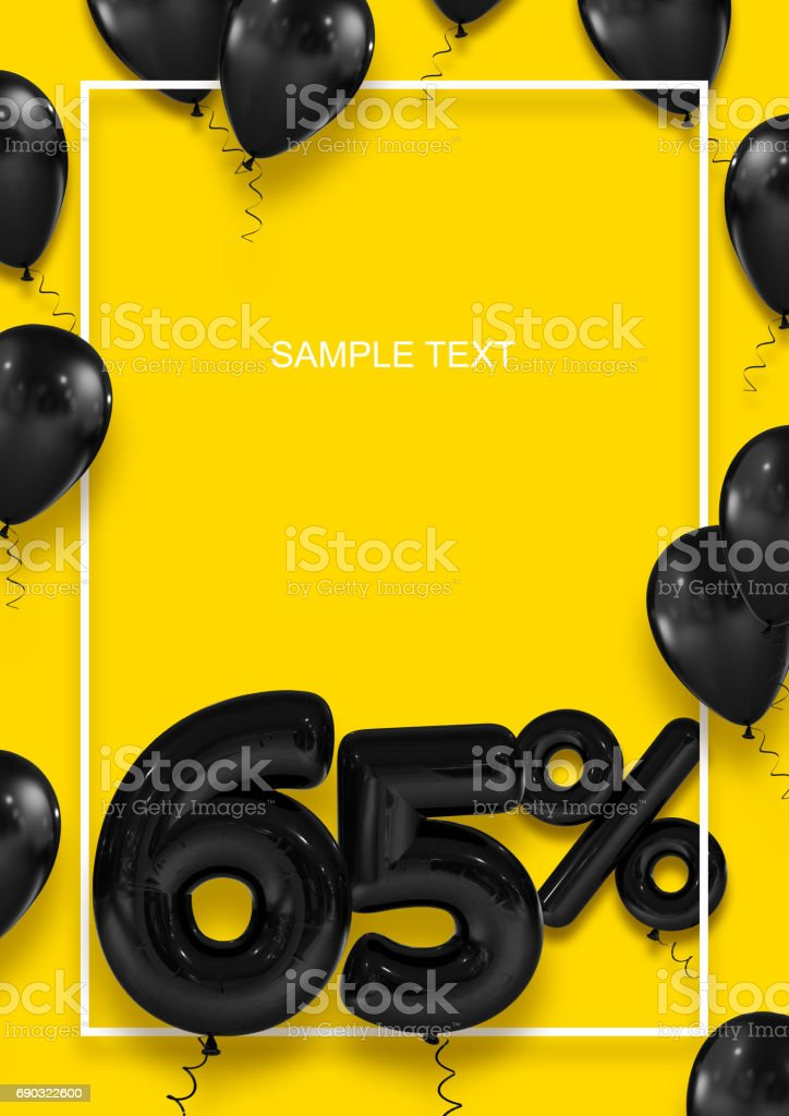 Poster template for sales. Sixty five percent discount. Inflatable balls in a white frame on a yellow background. International Paper Sizes. 3d render stock photo