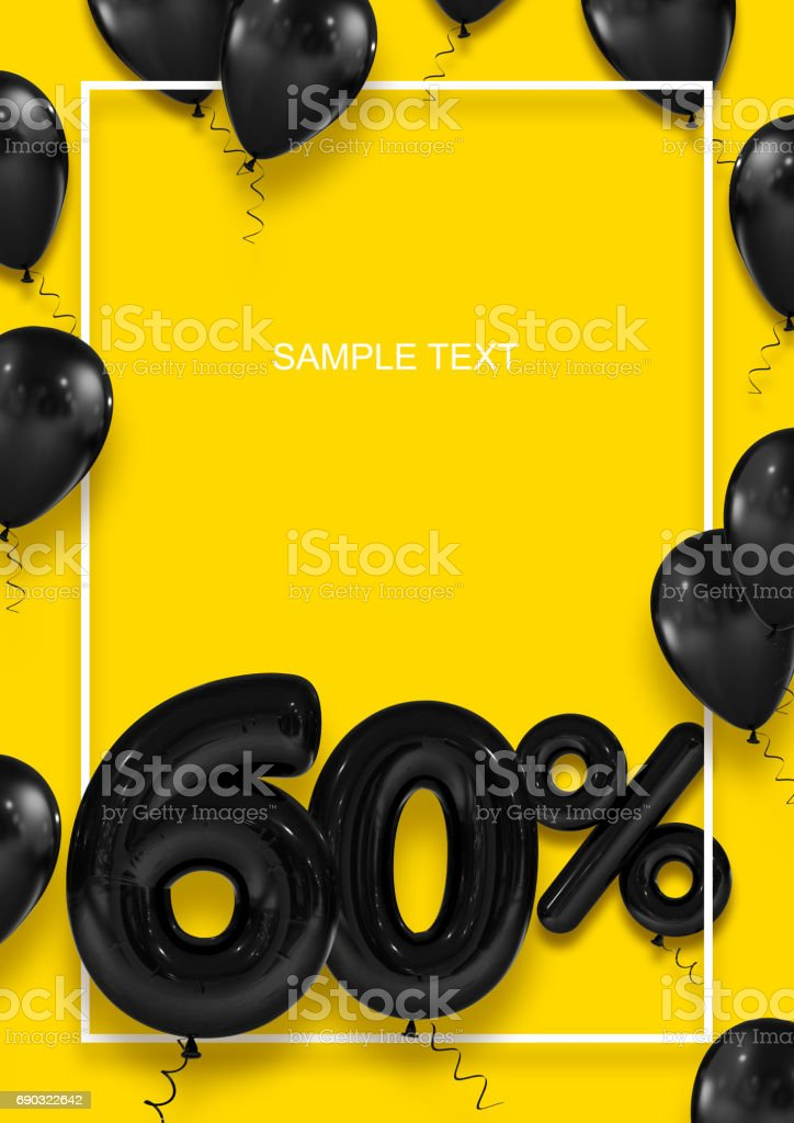 Poster template for sales. Sixty percent discount. Inflatable balls in a white frame on a yellow background. International Paper Sizes. 3d render stock photo