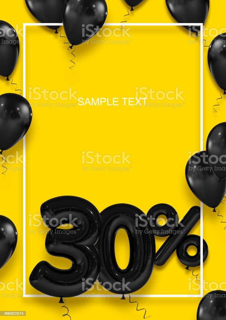 Poster template for sales. Thirty percent discount. Inflatable balls in a white frame on a yellow background. International Paper Sizes. 3d render stock photo