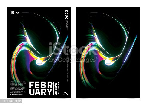 istock Poster Template With Abstract Glowing Waves On Black Background. 1211622142