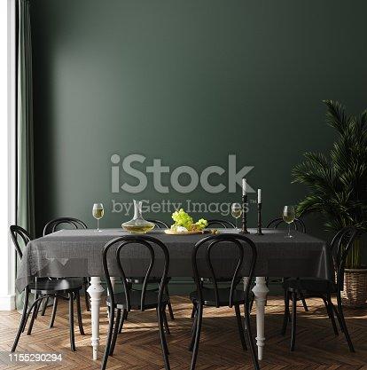 Poster, wall mock up in dark green dining room interior, 3d render