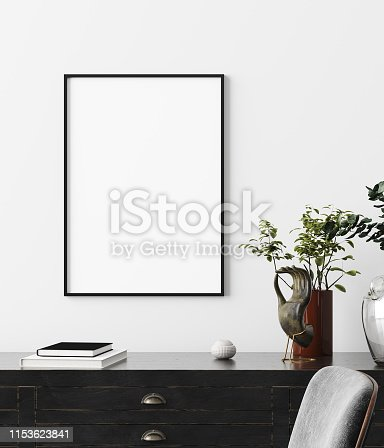 Poster, wall mockup in interior background with dark furniture, industrial style, 3d render