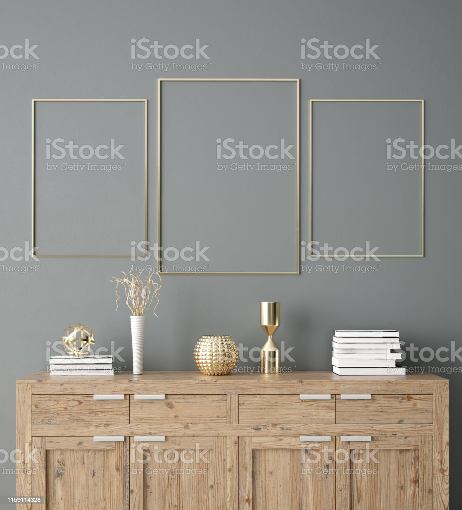 Poster Wall Mockup With Cabinet And Decor In Interior