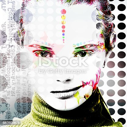 istock Poster with a portrait of a pretty girl in a modern style of pop art. 682504878