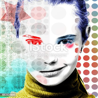 istock Poster with a portrait of a pretty grinning girl in a modern style of pop art. 682504900