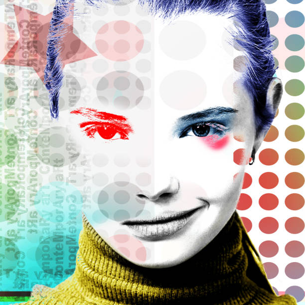 Poster with a portrait of a pretty grinning girl in a modern style of pop art. stock photo