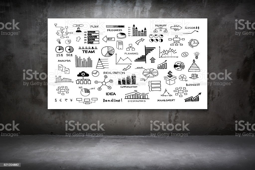 Poster with Business Doodles at dark cement room stock photo