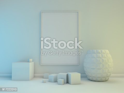 616098144istockphoto Poster with Frame Mockup in interior. 3D 917222010