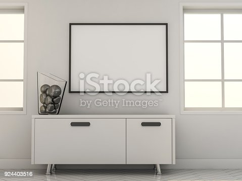 616098144istockphoto Poster with Frame Mockup in interior. 3D 924403516