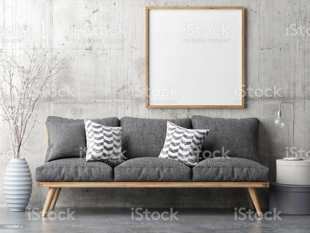 Poster with retro sofa, minimalism interior concept - foto stock