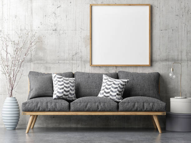poster with retro sofa, minimalism interior concept - wall art stock photos and pictures