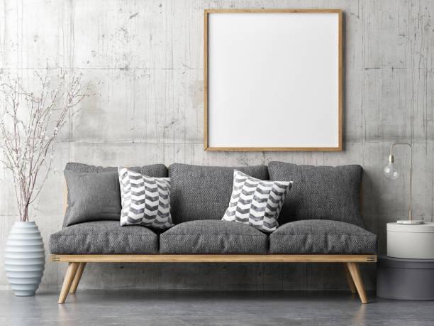poster mit retro-sofa, minimalismus innenraum-konzept - schild mode stock-fotos und bilder