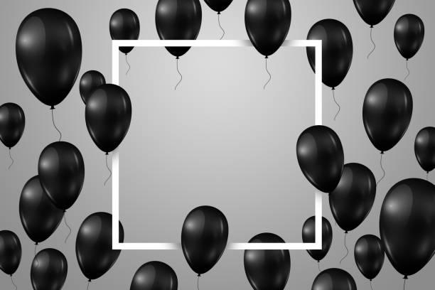 poster with shiny balloons with a square frame on a light background. - black friday zdjęcia i obrazy z banku zdjęć