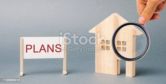 939533958istockphoto A poster with the word Plans and a miniature wooden house. Property investment. Estate planning. Living trust. Rental housing. Tax payment. Real estate 1153633413