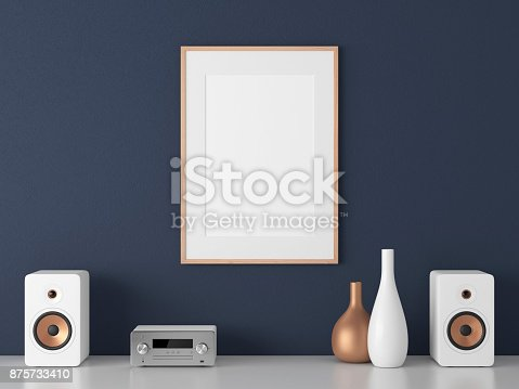 istock Poster with wooden Frame Mockup and Micro Component stereo System on white shelf 875733410