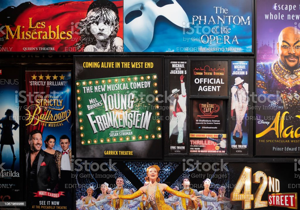 Posters for London theatrical productions стоковое фото