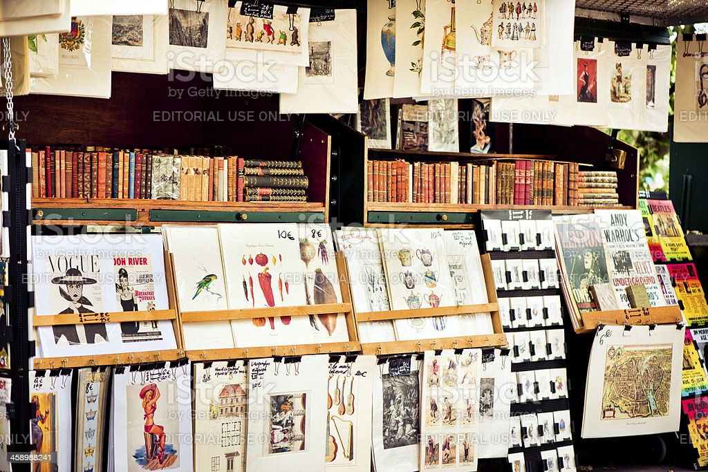 Posters for sale in Paris stock photo