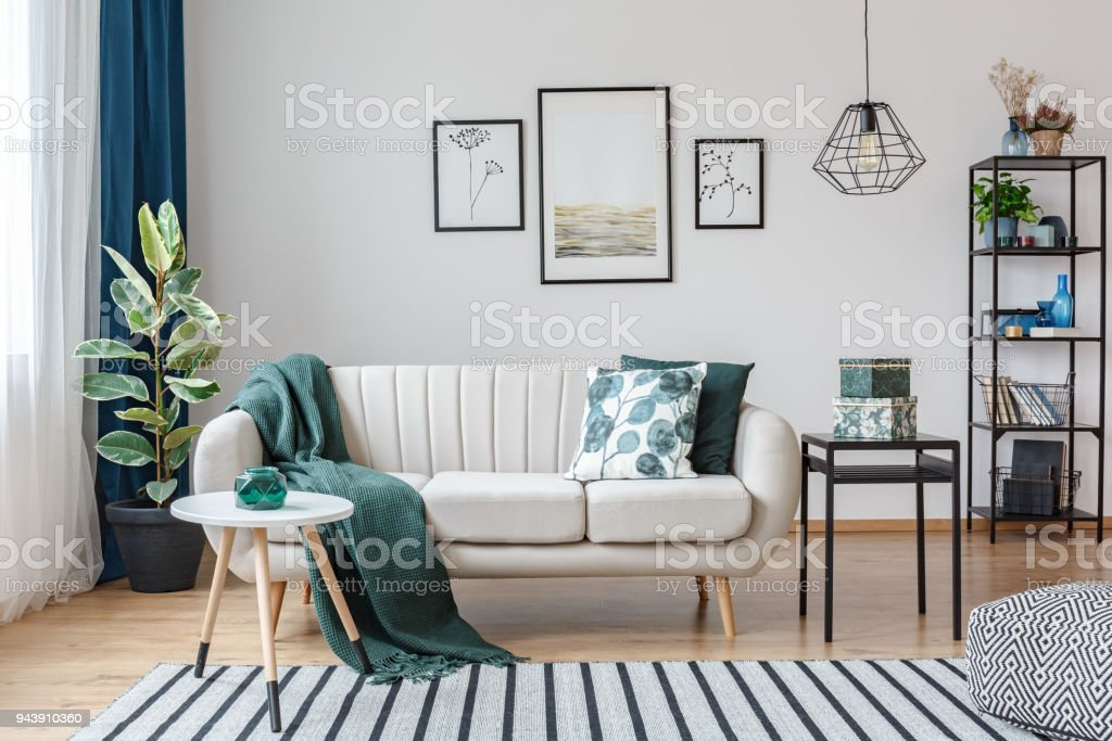 Posters in cozy apartment interior