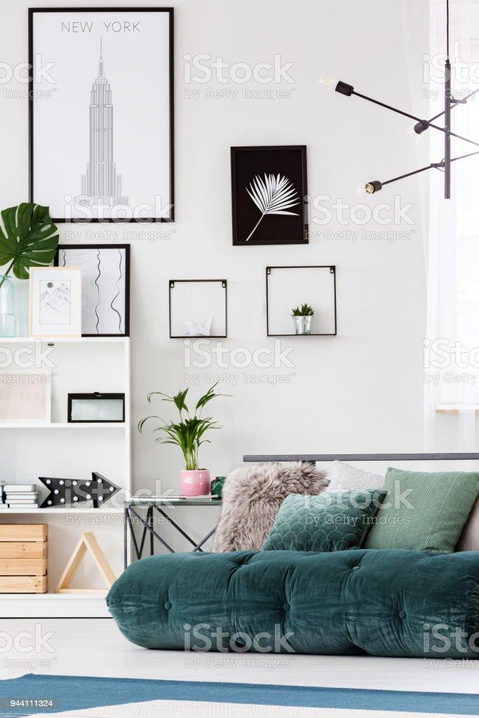 Posters In Cozy Bedroom Interior Stock Photo Download Image Now Istock