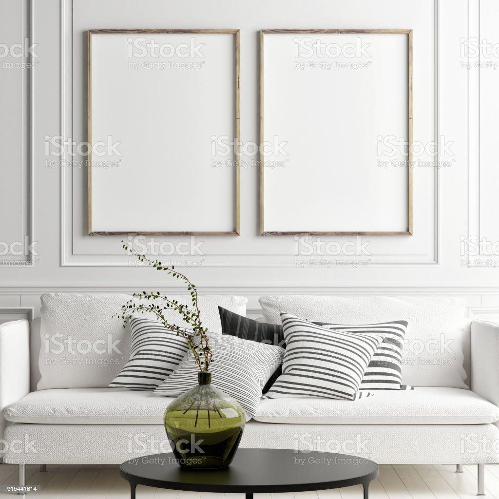 Mock-up-Poster in skandinavischen Interieur mit weißen sofa – Foto