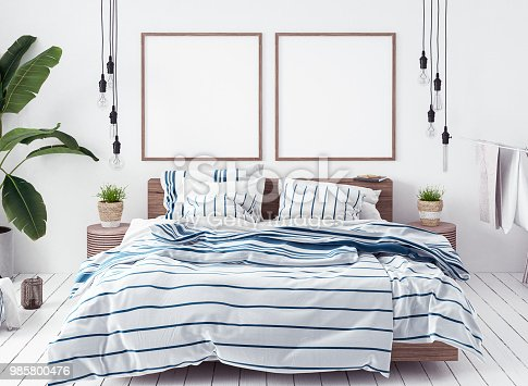 936286060 istock photo Posters mock-up in new Scandinavian bedroom 985800476
