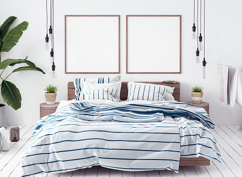 istock Posters mock-up in new Scandinavian bedroom 985800476