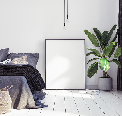 istock Posters mock-up in new Scandinavian bedroom 988730330