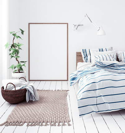 istock Posters mock-up in new Scandinavian bedroom 988730366
