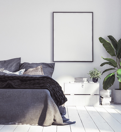 istock Posters mock-up in new Scandinavian bedroom 988733022