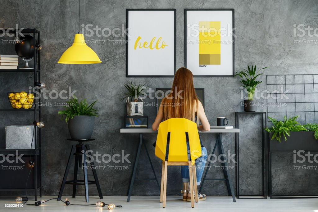 Posters mock-up in study space stock photo