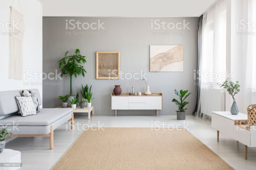 Posters on grey wall above white cupboard in bright living room interior with sofa and carpet. Real photo – zdjęcie