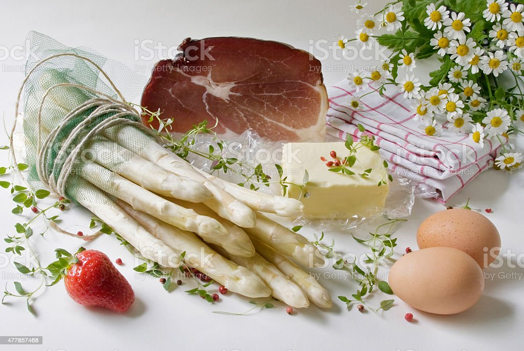 """Posters """"white asparagus with ham"""" stock photo"""